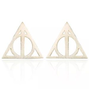 Gold Toned Deathly Hallows Stud Earrings
